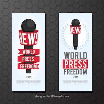 Banners of the world press freedom day with microphone
