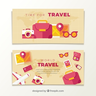 Banners of travel accessories in flat design