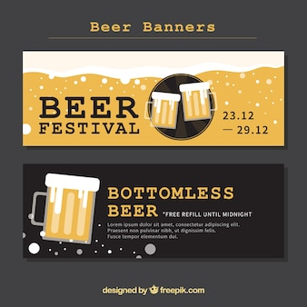 Banners of vintage beer festival in flat design