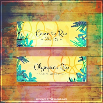 Banners of watercolor rio 2016