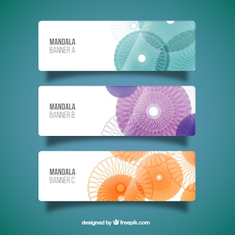 Banners set with mandalas