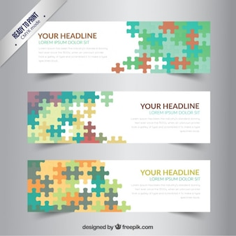 Banners template with colorful puzzle