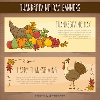Banners thanksgiving day  with turkey and hand-drawn food