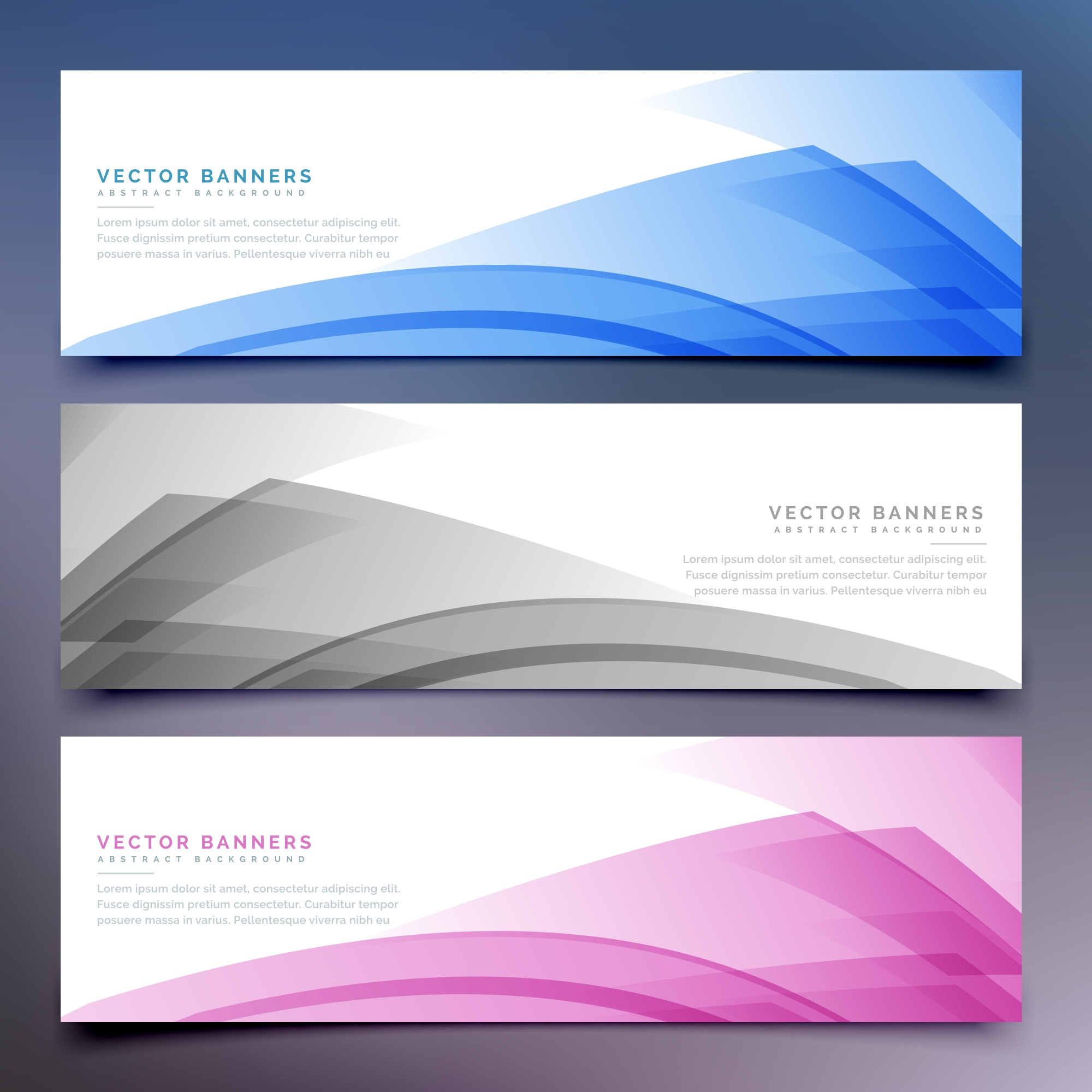 Banners with abstract shapes and transparencies