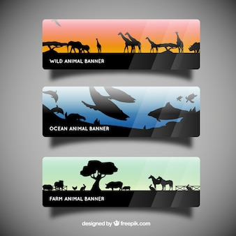 Banners with animal silhouettes