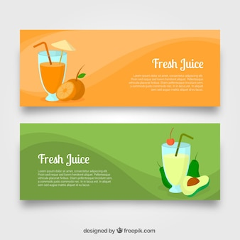 Banners with avocado juice and orange juice