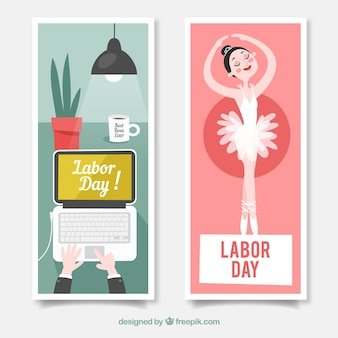 Banners with ballerina and office desk