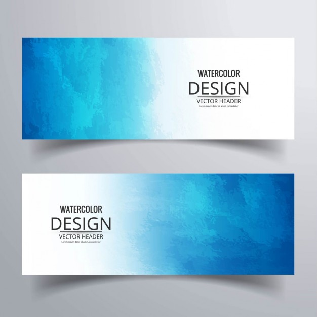 Banners with blue watercolors