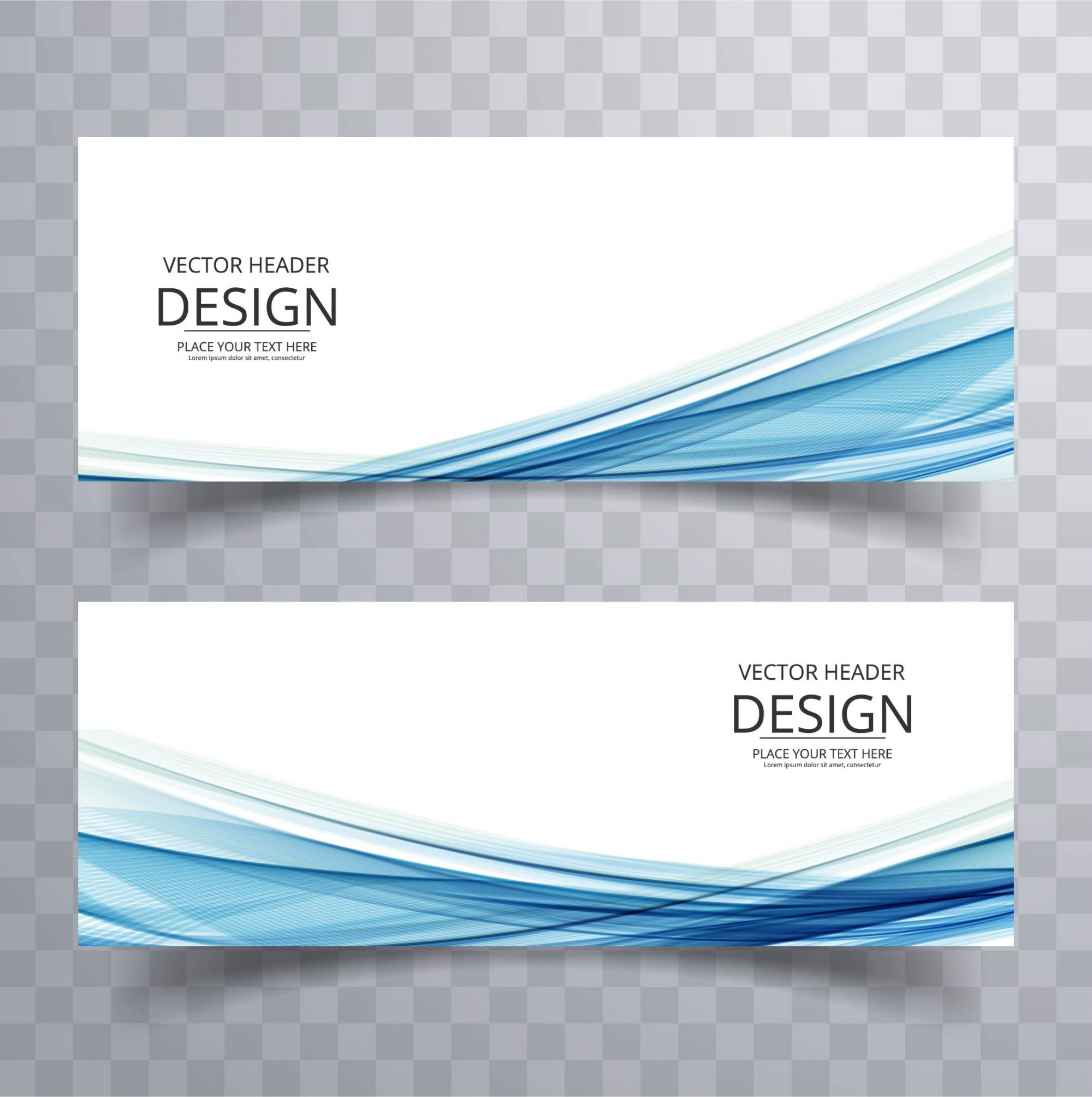 Banners with blue wavy shapes
