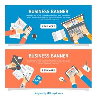 Banners with business elements in flat design