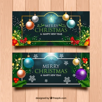 Banners with christmas decoration