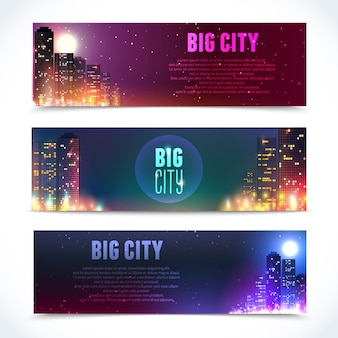 Banners with city scenes