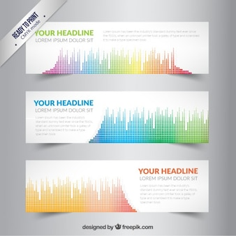 Banners with colored sound wave