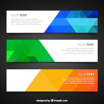 Banners with colorful geometric