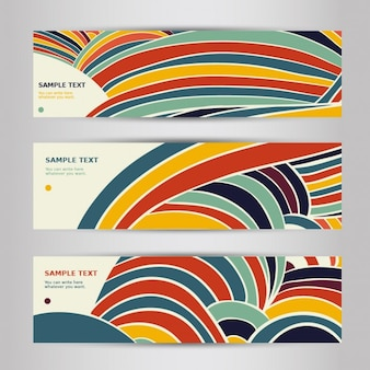 Banners with colorful waves