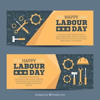 Banners with decorative tools for worker's day