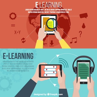 Banners with different devices of e-learning