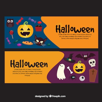 Banners with different elements of halloween