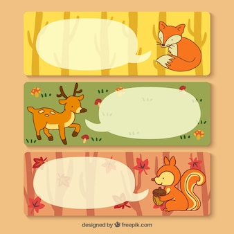 Banners with forest animals