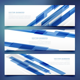 Banners with geometrical blue shapes