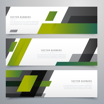 Banners with green geometrical shapes