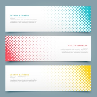Banners with halftone dots, different colors