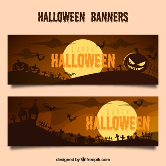 Banners with halloween landscapes