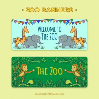 Banners with hand drawn wild animals