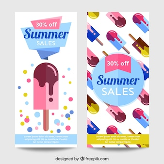 Banners with ice cream, summer sales