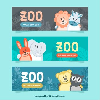 Banners with lovely animals of zoo