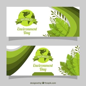 環境の日のための自然の要素を持つバナー