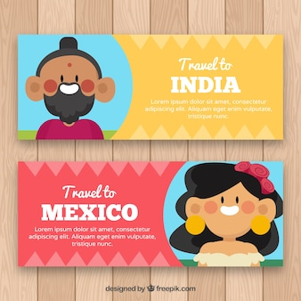 Banners with nice characters from india and mexico