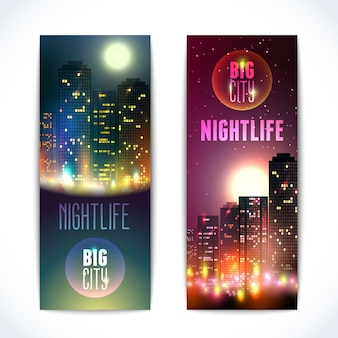 Banners with night city scenes