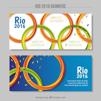 Banners with olympic games symbol