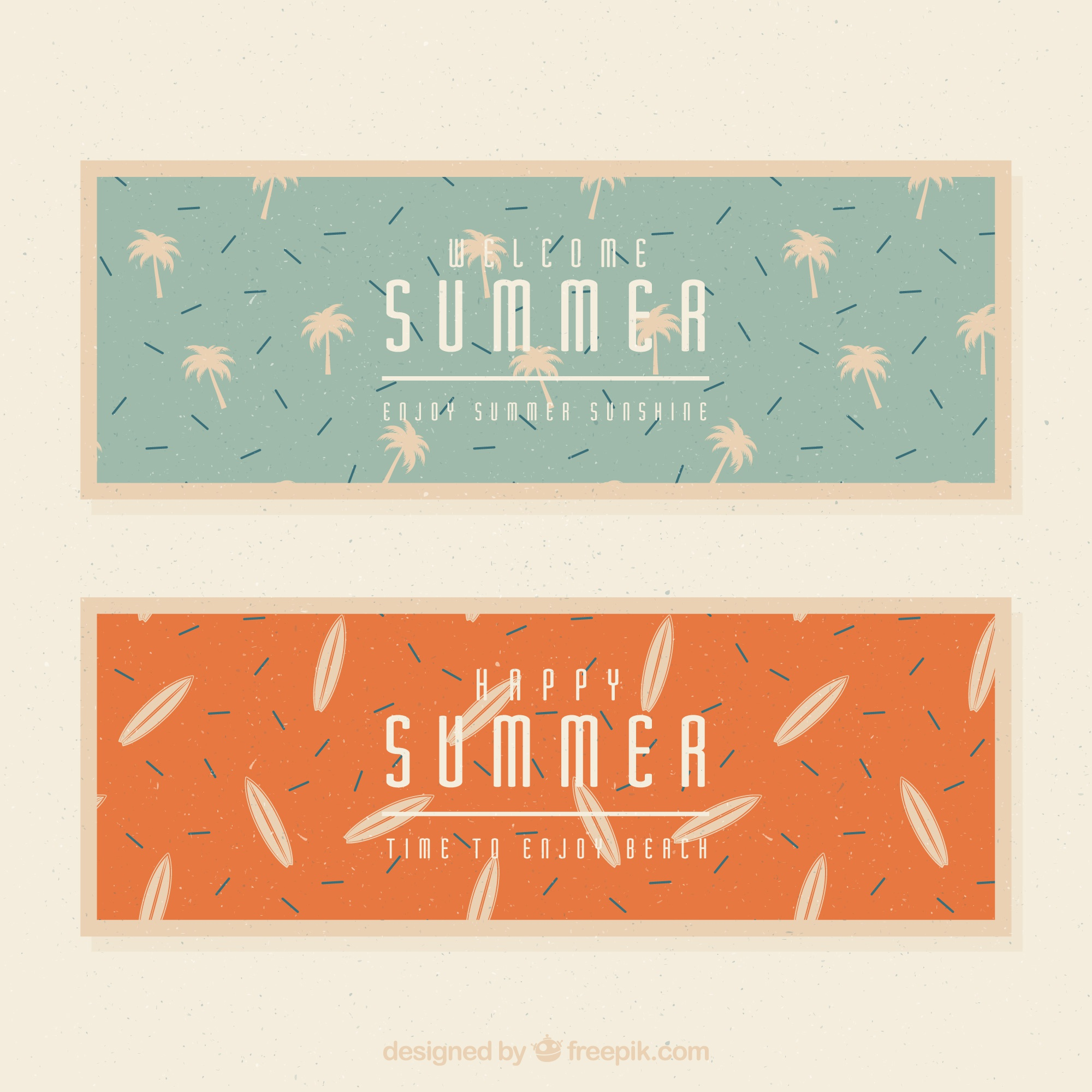 Banners with palm trees and surfboards in retro style