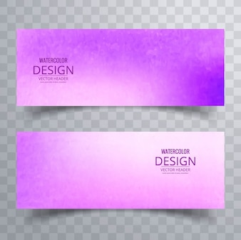 Banners with purple watercolors