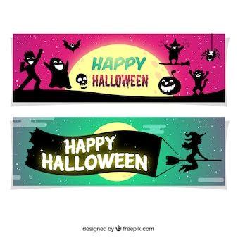 Banners with silhouettes of halloween characters