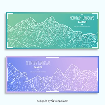 Banners with sketches of mountains