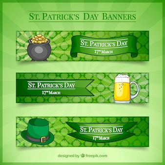 Banners with sketches of saint patrick elements