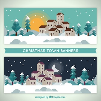 Banners with snowy christmas town