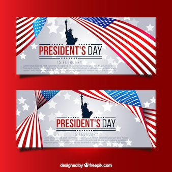 Banners with statue of liberty and united states flag for president's day