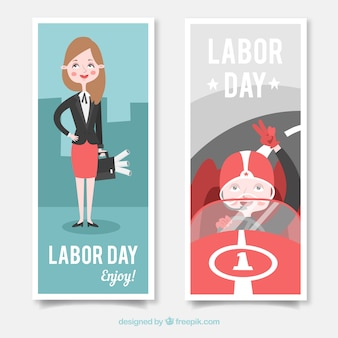 Banners with successful women on labor day