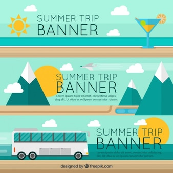Banners with summer trip elements