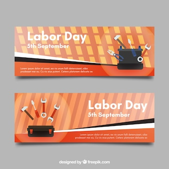 Banners with tools for labor day