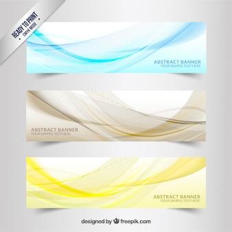 Баннеры с волнистыми линиями рисунка