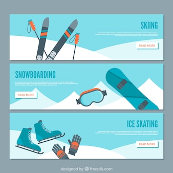 Banners with winter sports in flat style