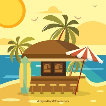 Bar in heavenly beach with flat design