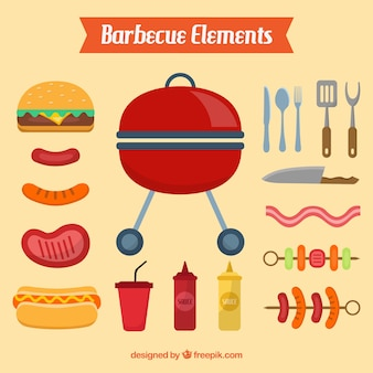 Barbecue elements in flat design