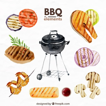 Barbecue elements in watercolor effect
