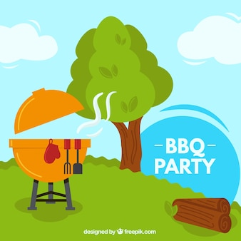 Barbecue party in a beautiful countryside background